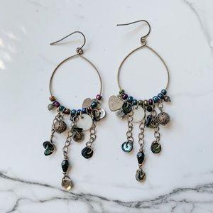 Oxidized Silver Boho Charm Dangle Hoop Earrings